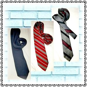 3 Vintage ties - navy, red striped & gray striped